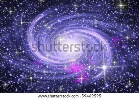Big spiral galaxy in far star space - stock photo