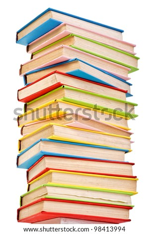 big stack of books in hard cover. isolated over white