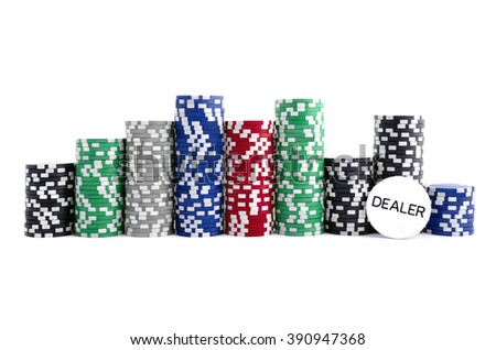 Big stack of casino chips with poker dealer button; isolated on white background