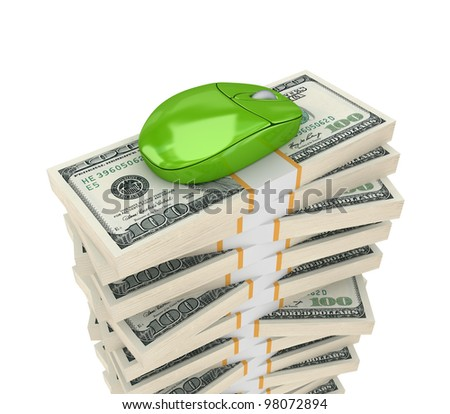Big stack of dollars and PC mouse.Isolated on white background.3d rendered. - stock photo