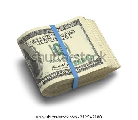 Big Stack of Folded Hundred Dollar Bills Isolated on White Background. - stock photo