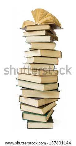 Big stack of old antique books isolated on white background - stock photo
