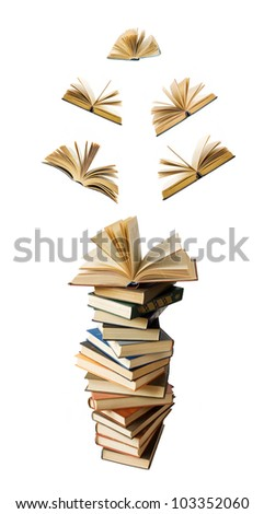 Big stack of old books with opened books flying away (education concept)