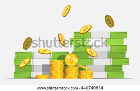 Big stacked pile of cash money and some gold coins. Coin Falls. Flat style cash money illustration. - stock photo