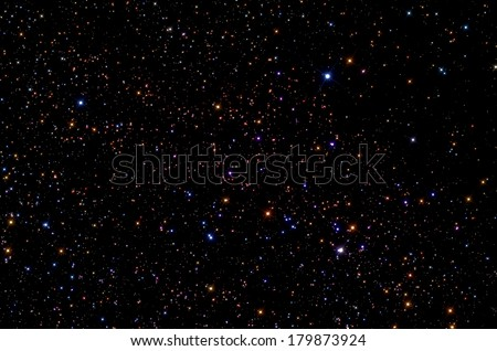 Big star-field in constellation of Perseus with stars shaped (spikes). - stock photo