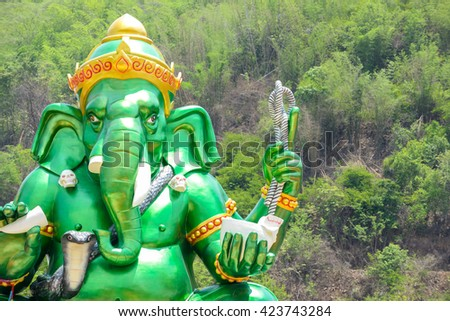 big statue green Ganesha in thailand - stock photo