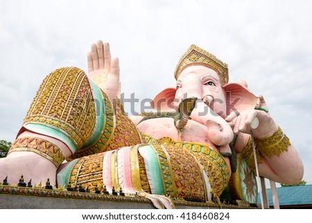 big statue pink Ganesha in thailand - stock photo