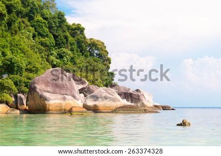 Big Stones Blue Seascape  - stock photo