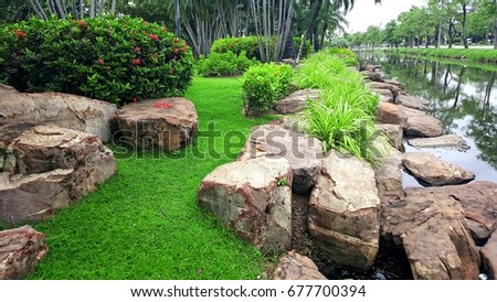 Superior Big Stones, Grass, Trees, Canals, In The Garden