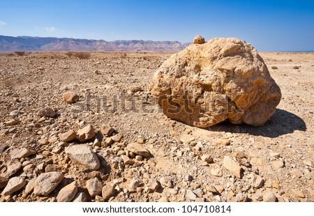 Big Stones in Sand Hills of Samaria, Israel - stock photo