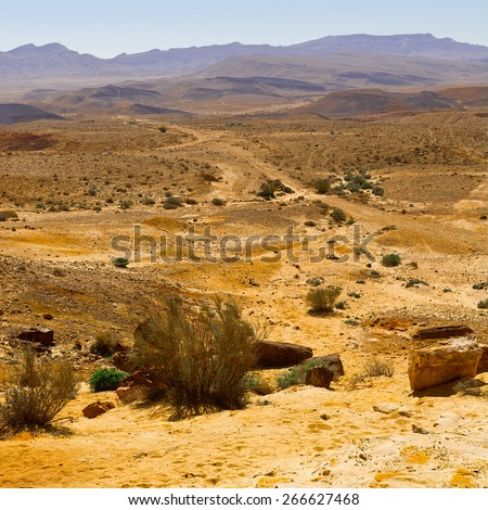 Big Stones of Grand Crater in Negev Desert, Israel - stock photo