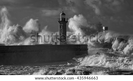 Big stormy waves against old pier and lighthouse of Douro river mouth. Infrared.