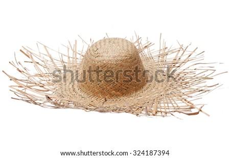 Big straw hat isolated on white background - stock photo