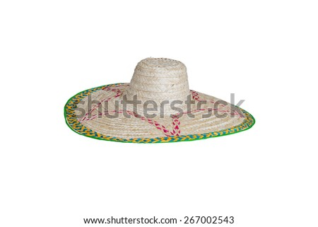 Big straw hat isolated on white,Side view.