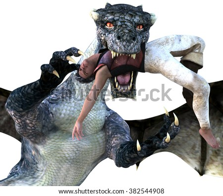 Big strong dragon with wings posing close to the camera on a transparent background. The dragon tries to eat a man. 3D Illustration, 3D rendering - stock photo