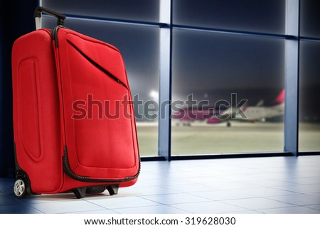 big suitcase on airport  - stock photo