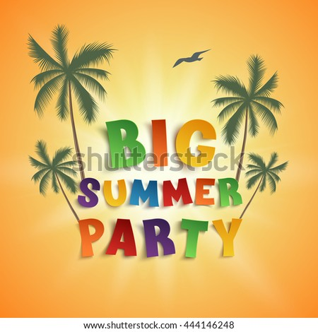Big summer party poster template on orange background with palms and seagull.