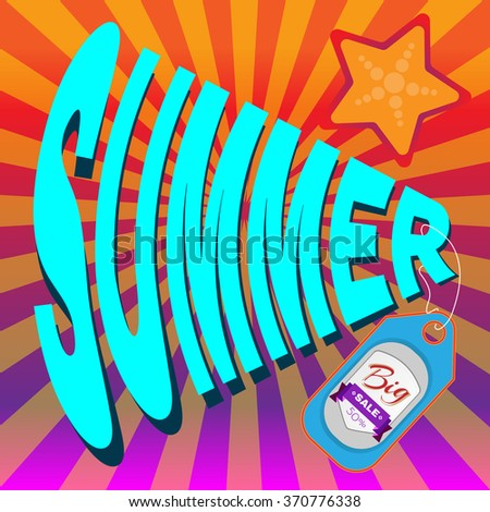 Big Summer Sale Flyer raster Illustration. Percentage Discount. Holiday Hot Vacation Card. Market Shop Goods Sale Banner. - stock photo