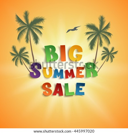 Big summer sale poster template isolated on orange background with palms, seagull and sun. - stock photo