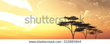 big sun rise and trees in the sky background 3d illustration - stock photo