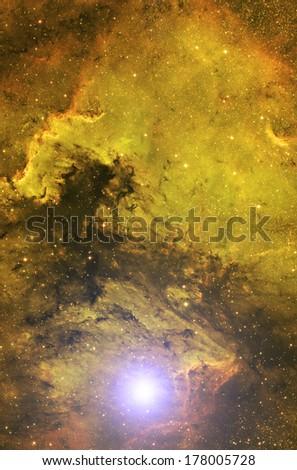Big supernova around space nebulosity. - stock photo