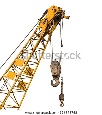 Big supper yellow construction crane for heavy lifting isolated cut on white background - stock photo