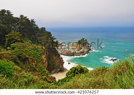 Big Sur, California: view of McWay Falls beach on June 12, 2010. McWay Falls is an 80-foot waterfall that flows directly into the Pacific ocean in Julia Pfeiffer Burns State Park