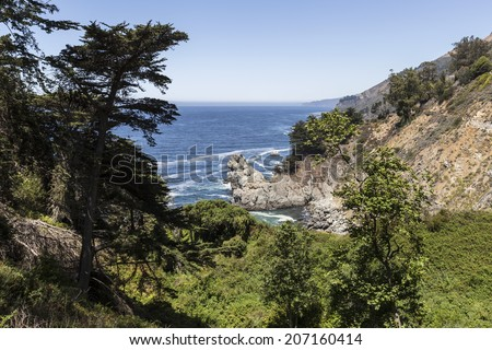 Big Sur coast in scenic central California. - stock photo