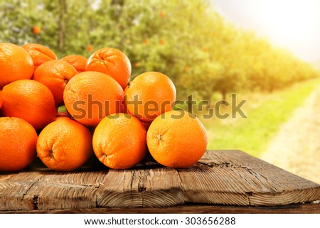big table of wood and orange fruits  - stock photo