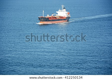 Big tanker at the Atlantic ocean - stock photo
