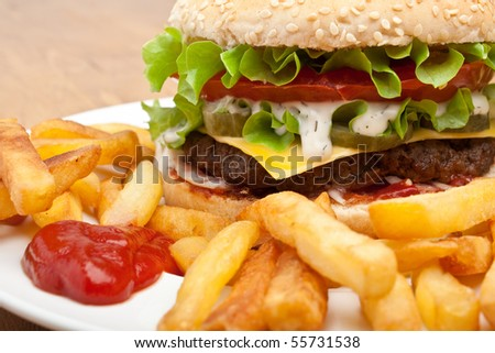 big tasty cheeseburger - stock photo