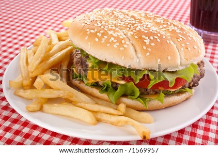 big tasty cheeseburger, french fries and cola - stock photo