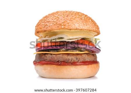 Big tasty hamburger burger isolated on white background - stock photo