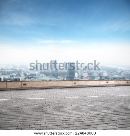 big terrace of city ladnscape  - stock photo
