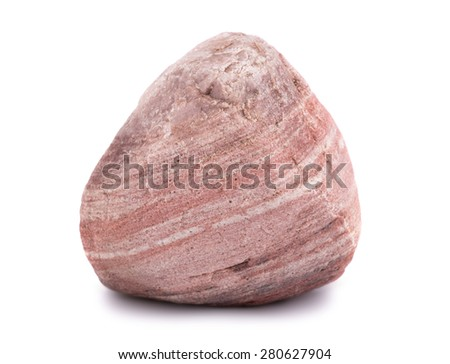Big textured stone isolated on white background - stock photo