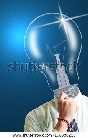 Big think Lamp businessman ,creative your thinking