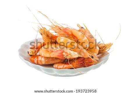 Big tiger shrimps isolated on white - stock photo