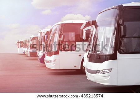 big tourist buses on parking - stock photo