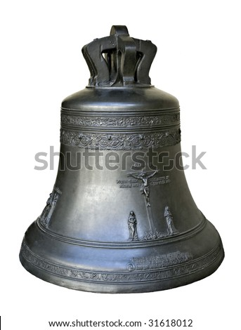 big tower bell isolated in white - stock photo