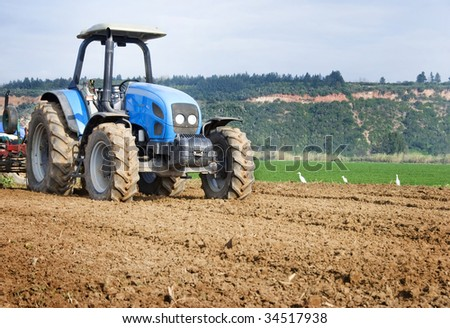 Big tractor on a farm
