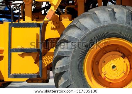 big truck wheel closeup object - stock photo