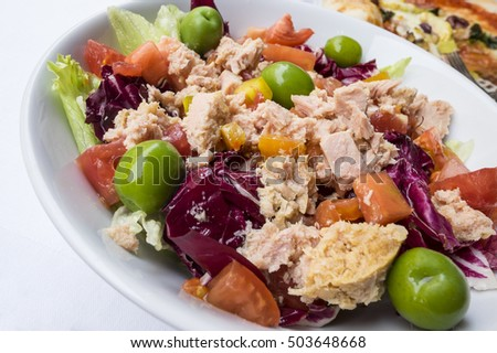 Big Tuna Fish Salad with Green Olives and Endives