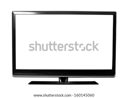 big tv screen isolated on white - stock photo