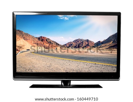 big tv screen with landscape - stock photo