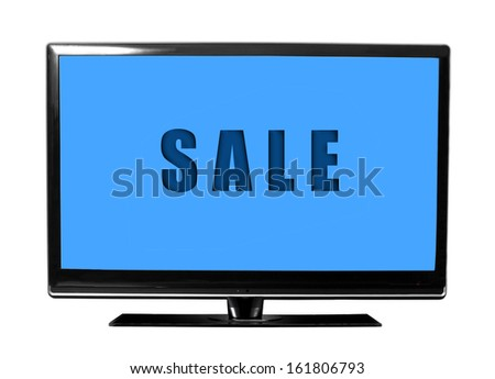 big tv screen with sale text