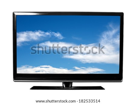 big tv with sky - stock photo