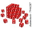 big unfinished cube formed by red dice and some scattered on the floor - 3d render - stock photo