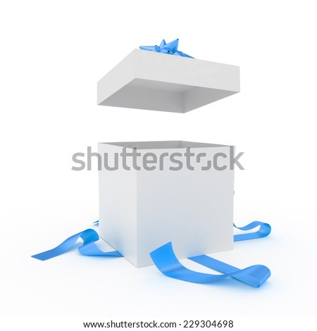Big unpacked gift box with blue ribbon isolated on white - stock photo