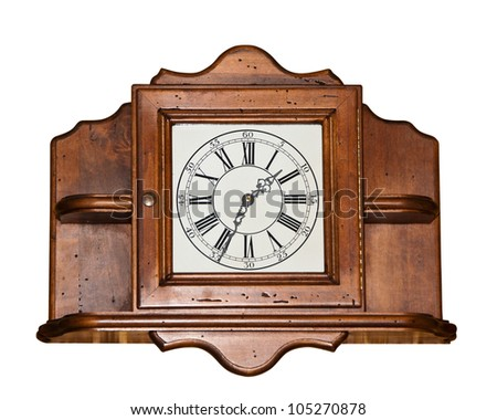 Big vintage wooden clock isolated on white - stock photo