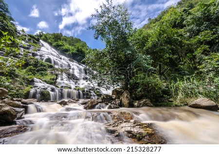 Big Waterfall in forest , North of Thailand